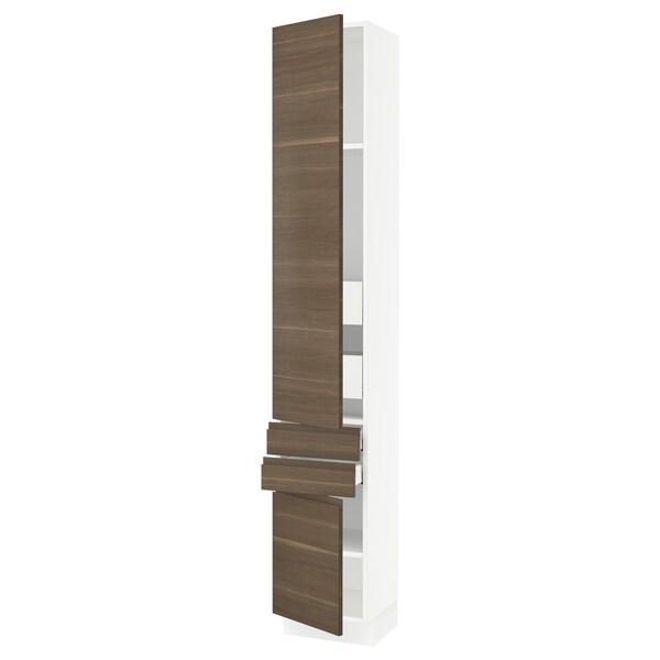 SEKTION / MAXIMERA Gabinete con 2 puertas y 4 cajones, blanco/Voxtorp efecto nogal, 38x37x229 cm