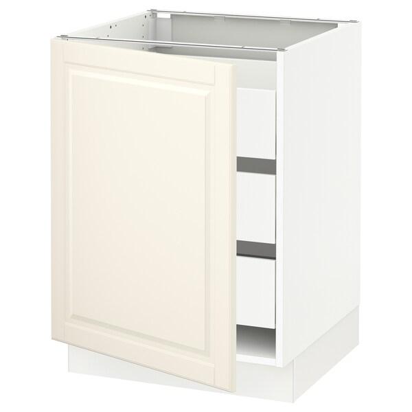SEKTION / MAXIMERA Gabinete con 3 cajones y puerta, blanco/Bodbyn hueso, 61x61x76 cm