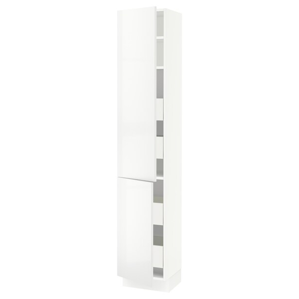 SEKTION / MAXIMERA Gabinete con 4 cajones y repisas, blanco/Ringhult blanco, 38x37x203 cm