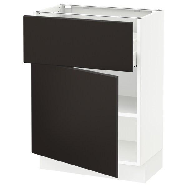 SEKTION / MAXIMERA Gabinete con cajón y puerta, blanco/Kungsbacka carbón, 61x37x76 cm