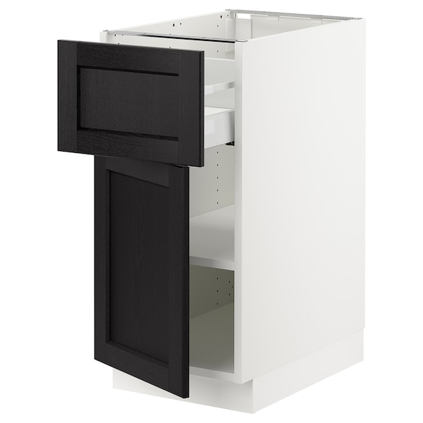 SEKTION / MAXIMERA Gabinete con cajón y puerta, blanco/Lerhyttan tinte negro, 38x61x76 cm