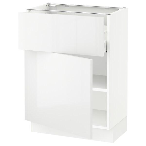 SEKTION / MAXIMERA Gabinete con cajón y puerta, blanco/Ringhult blanco, 61x37x76 cm