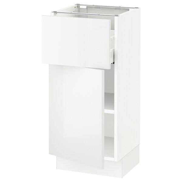 SEKTION / MAXIMERA Gabinete con cajón y puerta, blanco/Ringhult blanco, 38x37x76 cm