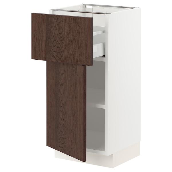 SEKTION / MAXIMERA Gabinete con cajón y puerta, blanco/Sinarp café, 38x37x76 cm