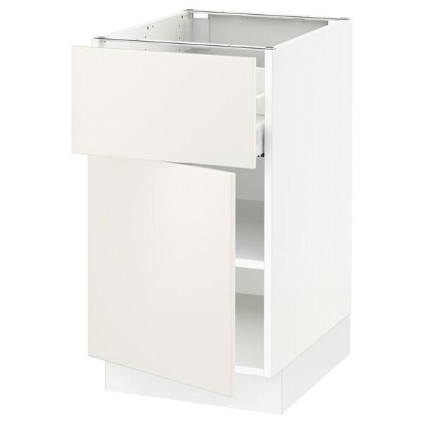 SEKTION / MAXIMERA Gabinete con cajón y puerta, blanco/Veddinge blanco, 46x61x76 cm