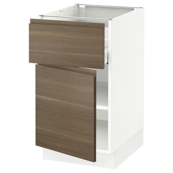 SEKTION / MAXIMERA Gabinete con cajón y puerta, blanco/Voxtorp efecto nogal, 46x61x76 cm