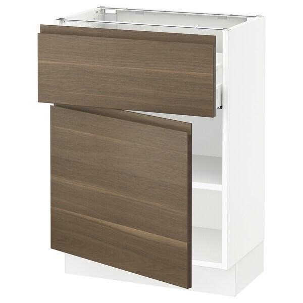 SEKTION / MAXIMERA Gabinete con cajón y puerta, blanco/Voxtorp efecto nogal, 61x37x76 cm