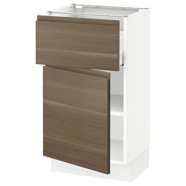 SEKTION / MAXIMERA Gabinete con cajón y puerta, blanco/Voxtorp efecto nogal, 46x37x76 cm