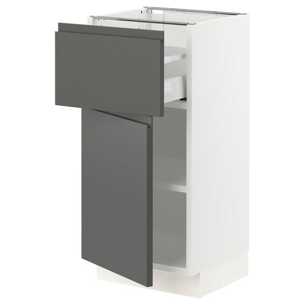 SEKTION / MAXIMERA Gabinete con cajón y puerta, blanco/Voxtorp gris oscuro, 38x37x76 cm