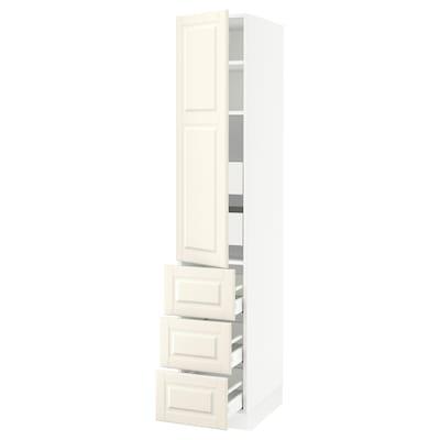 SEKTION / MAXIMERA Gabinete con puerta y 5 cajones, blanco/Bodbyn hueso, 38x61x203 cm
