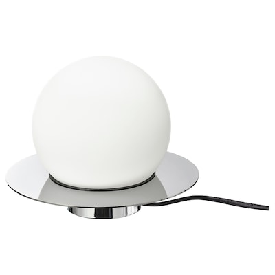 SIMRISHAMN Lámpara de mesa o pared, cromado/ópalo vidrio, 16 cm