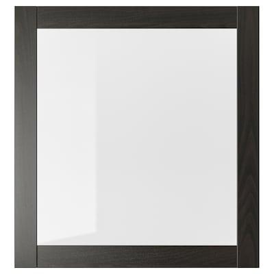 SINDVIK Puerta de vidrio, negro-café/vidrio incoloro, 60x64 cm
