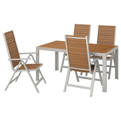 SJÄLLAND Mesa y 4 sillas reclinables, ext, café claro/gris claro, 156x90 cm