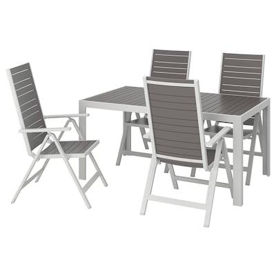 SJÄLLAND Mesa y 4 sillas reclinables, ext, gris oscuro/gris claro, 156x90 cm
