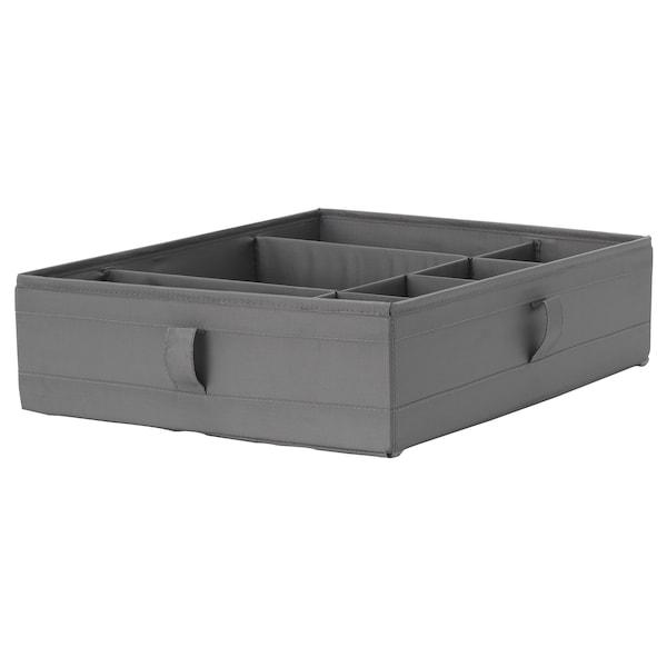 SKUBB Caja c/compartimentos, gris oscuro, 44x34x11 cm