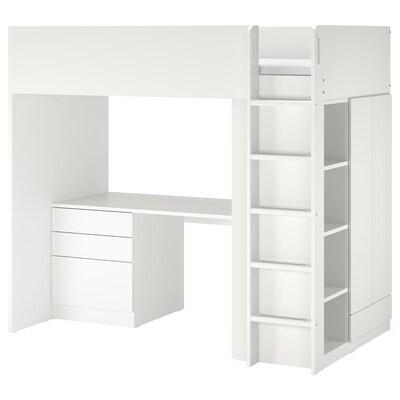 SMÅSTAD Cama alta, blanco blanco/con escritorio con 4 cajones, Individual