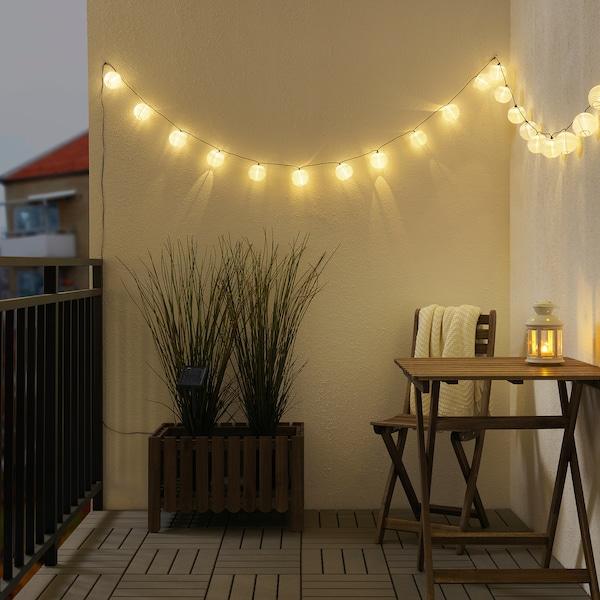 SOLARVET Guirnalda de 24 luces LED, exterior energía solar/balón blanco