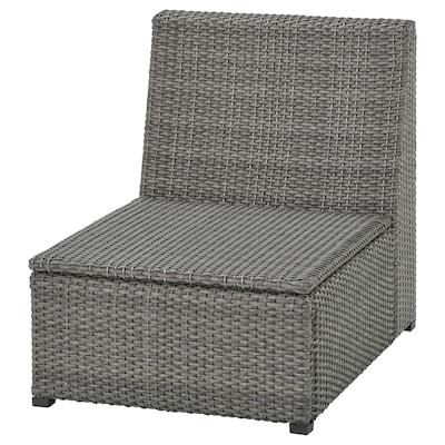 SOLLERÖN Módulo de 1 asiento, exterior, gris oscuro