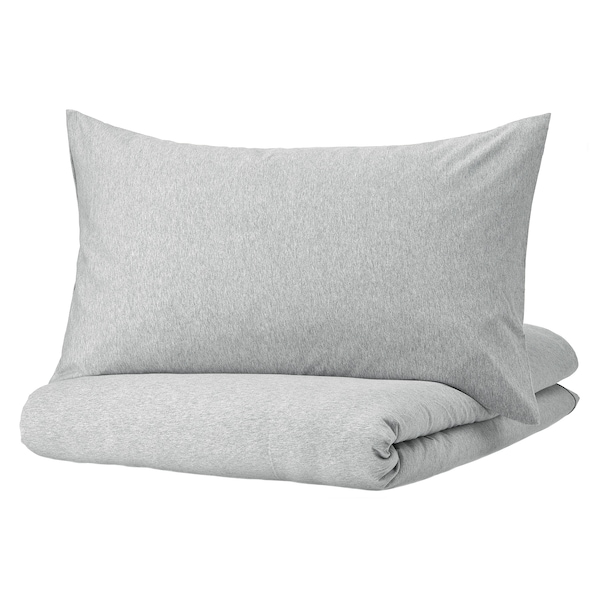 SPJUTVIAL Funda nórdica con funda de almohada, gris claro/mezcla, Individual