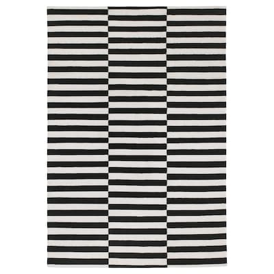 STOCKHOLM Tapete, a mano/rayas negro/color hueso, 170x240 cm
