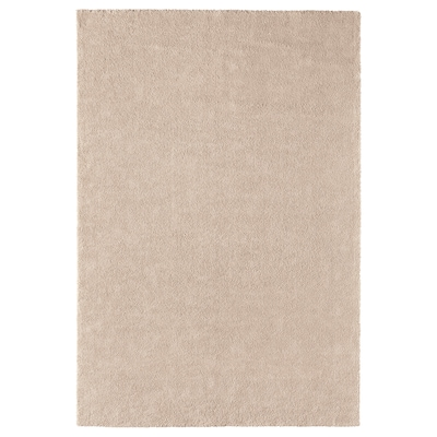 STOENSE Tapete, pelo corto, hueso, 200x300 cm