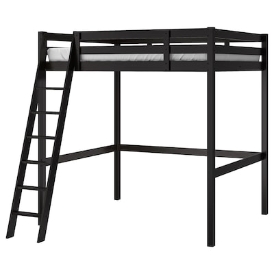 STORÅ Estructura cama alta, negro, Matrimonial