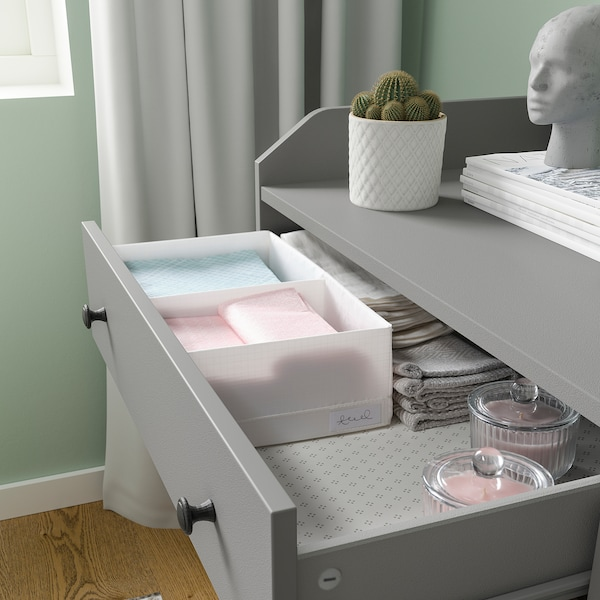 STUK Caja c/compartimentos, blanco, 20x34x10 cm