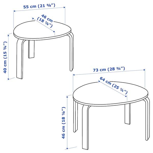 SVALSTA Set de 2 mesas, chapa abedul