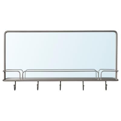 SYNNERBY Espejo con repisa y ganchos, gris, 71x38 cm