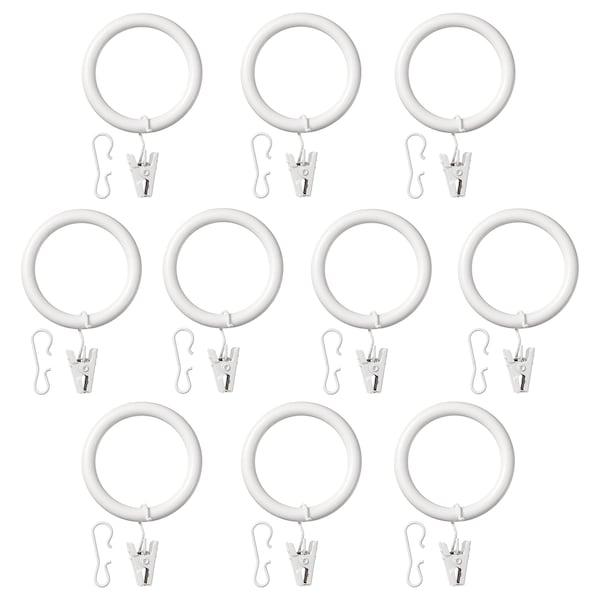 SYRLIG Anillo cortina c/clip y gancho, blanco, 38 mm