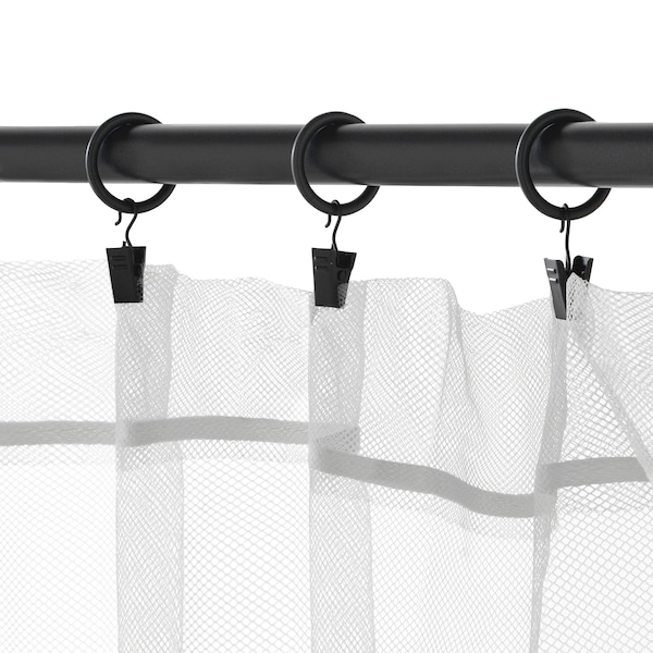 SYRLIG Anillo cortina c/clip y gancho, negro, 25 mm
