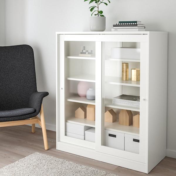 SYVDE Gabinete con puertas de vidrio, blanco, 100x123 cm