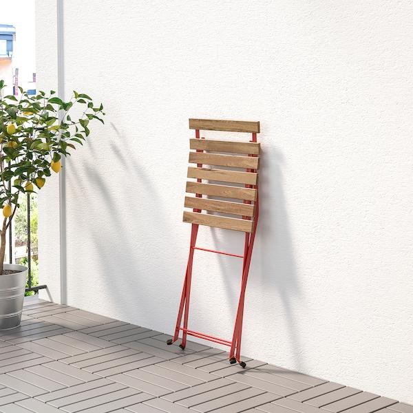 TÄRNÖ Silla para exterior, plegable/rojo tinte café claro