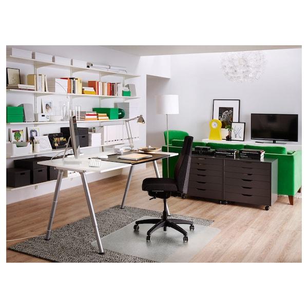 THYGE Escritorio, blanco/color plateado, 120x60 cm