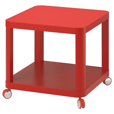 TINGBY Mesa de centro con ruedas, rojo, 50x50 cm