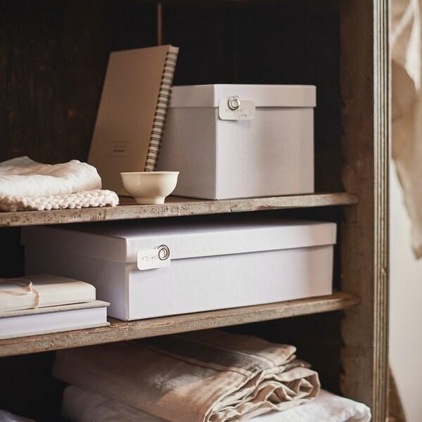 TJENA Caja para almacenaje con tapa, blanco, 18x25x15 cm