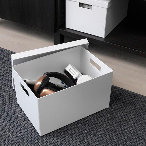 TJENA Caja para almacenaje con tapa, blanco, 25x35x20 cm