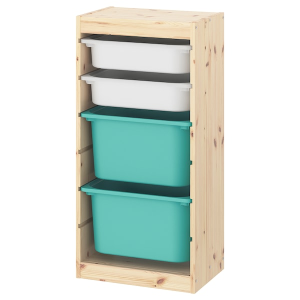 TROFAST Combinación de almacenaje con cajas, pino tte claro blanco/turquesa, 44x30x91 cm
