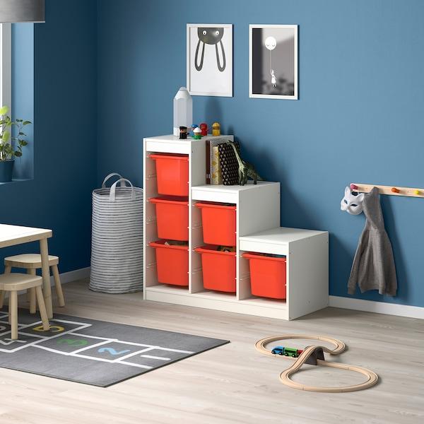 TROFAST Combinación de almacenamiento, blanco/naranja, 99x44x94 cm