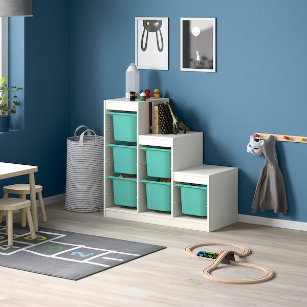 TROFAST Combinación de almacenamiento, blanco/turquesa, 99x44x94 cm