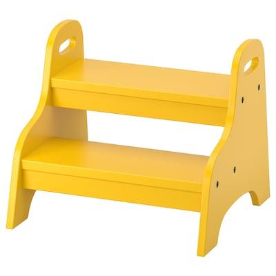 TROGEN Banquito en escalera para niños, amarillo, 40x38x33 cm