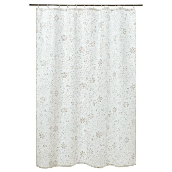 TYCKELN Cortina para regadera, blanco/beige oscuro, 180x180 cm