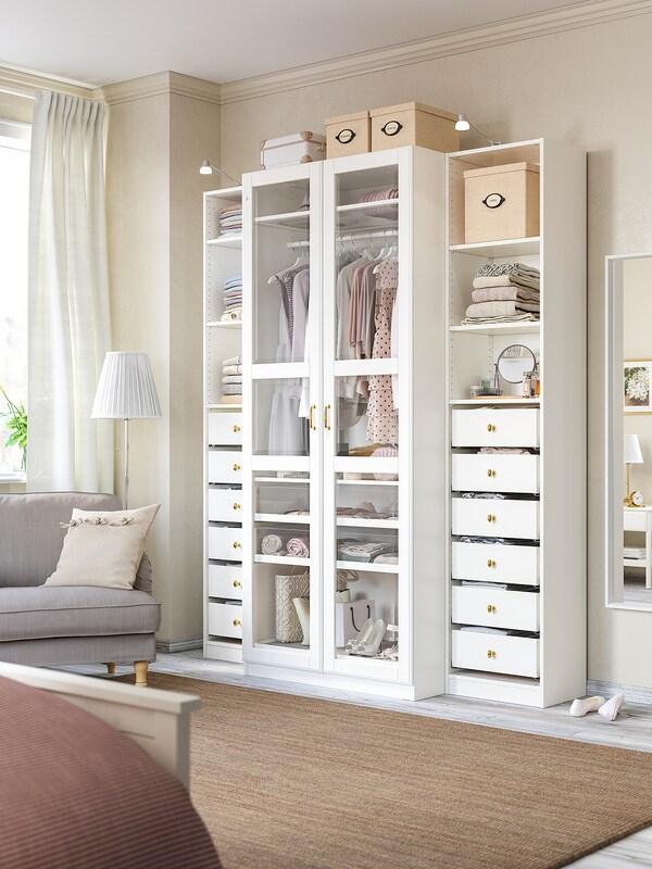 TYSSEDAL Puerta con bisagras, blanco/vidrio, 50x229 cm