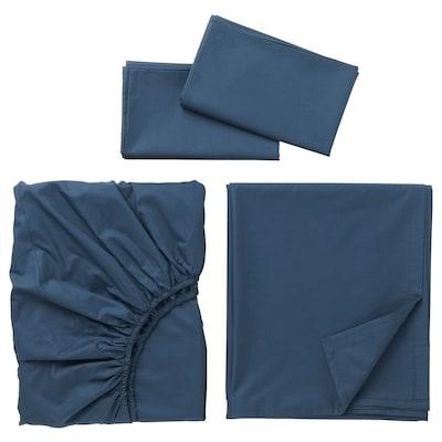 ULLVIDE Juego de sábanas, azul oscuro, Queen