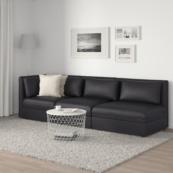 VALLENTUNA Sofá modular de 3 asientos con cama, +extremo abierto/Murum negro