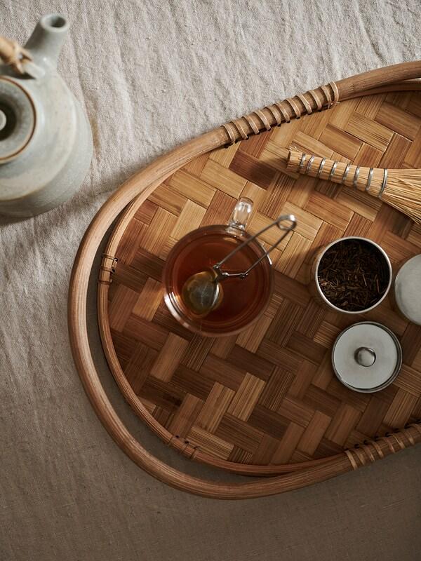VÅRFINT Bandeja, bambú, 47x32 cm