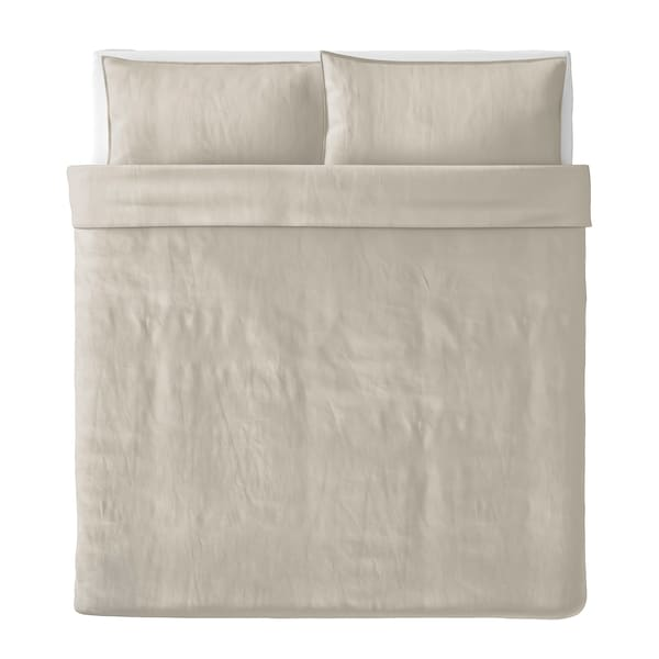 ÄNGSLILJA Duvet cover and 2 pillowcases, light grey-beige, 240x220/50x80 cm