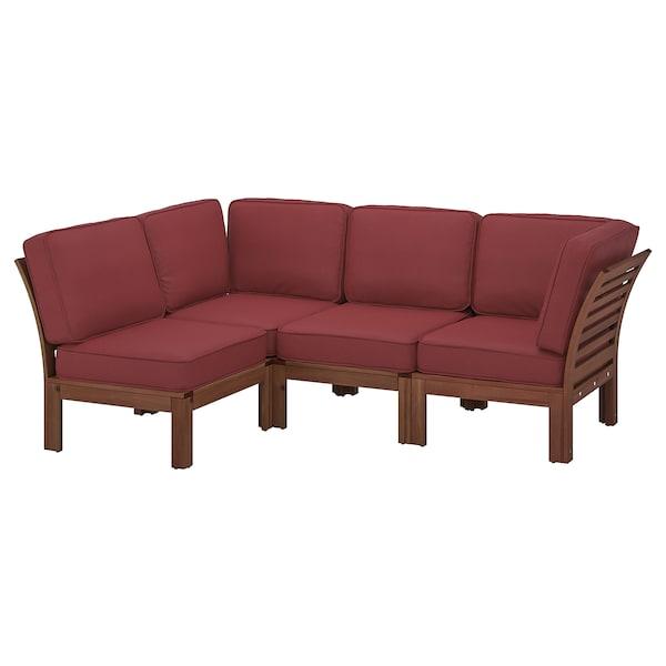 ÄPPLARÖ Modular corner sofa 3-seat, outdoor, brown stained/Järpön/Duvholmen brown-red, 143/223x80x86 cm
