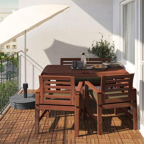 ÄPPLARÖ Table+2 chrsw armr+ bench, outdoor, brown stained/Frösön/Duvholmen dark beige-green