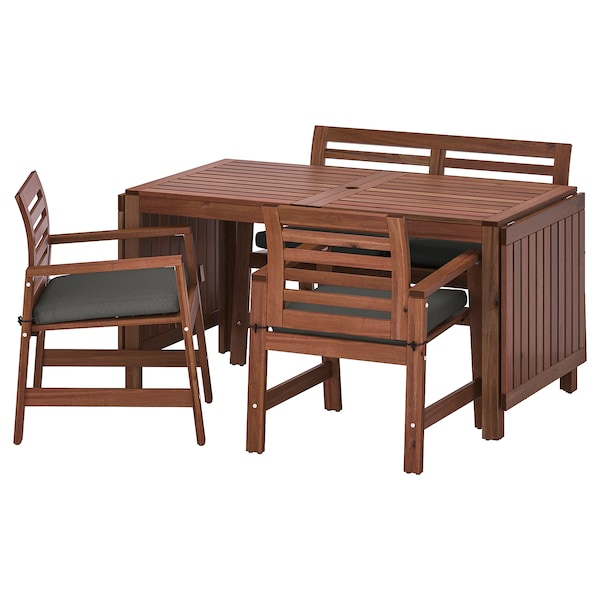 ÄPPLARÖ Table+2 chrsw armr+ bench, outdoor, brown stained/Frösön/Duvholmen dark grey